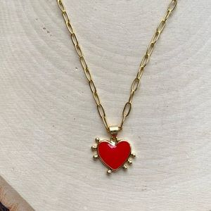 NEW Free People Paperclip Chain Heart Necklace